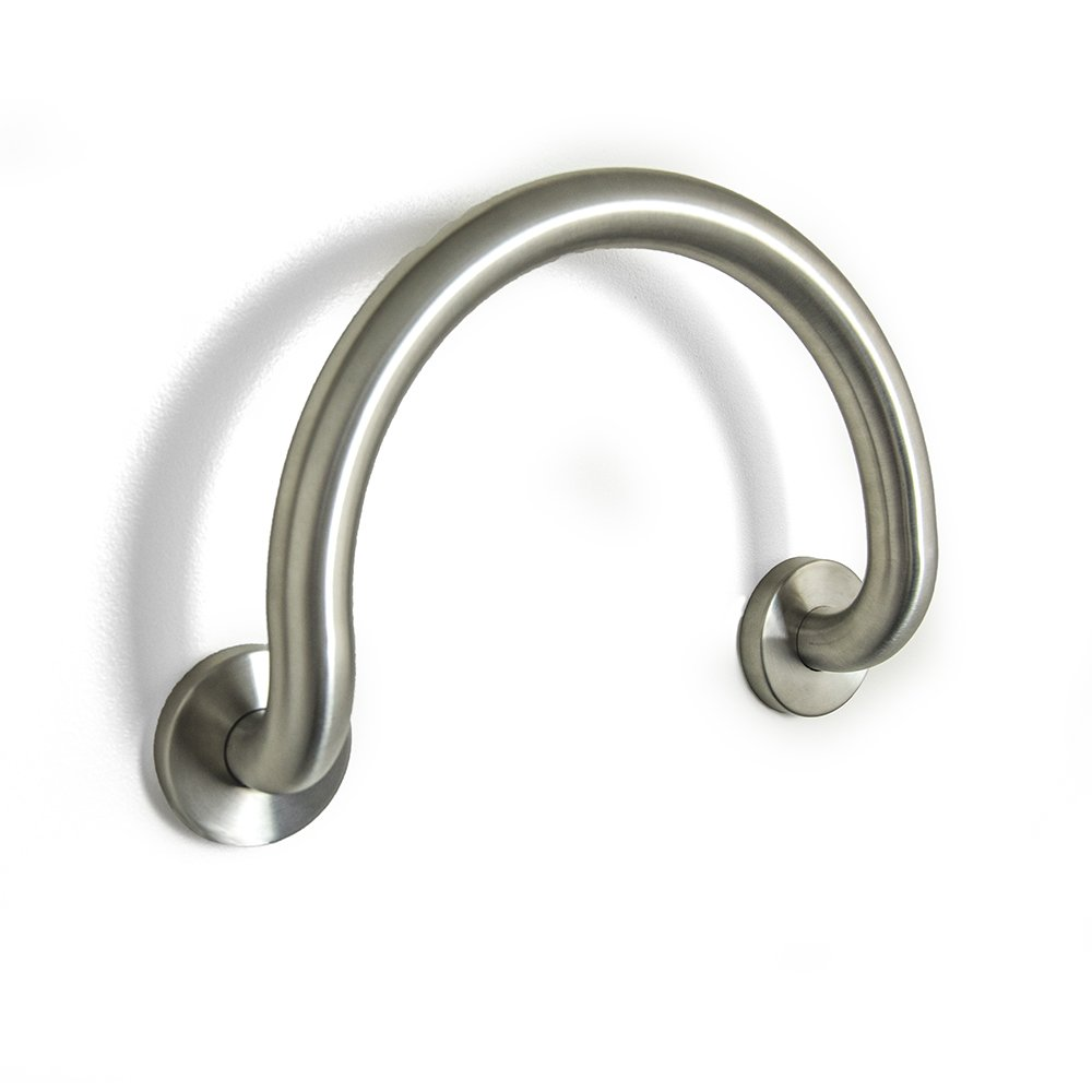 """Ella Brushed Stainless Steel Round 12""""x 1 ¼"""" Circle Grab Bar for Valve or Bathroom Safety"""