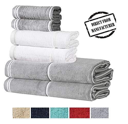 Avira Home Textured Extra Large Bath Towel Set, 100% Cotton, 6 Piece Towel Set- 2 Extra Large Bath Towels, 2 Hand Towels, 2 Washcloths, Designer Towels, Color Coordinated Towels