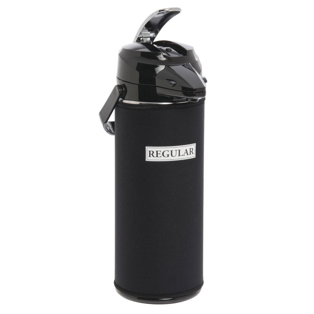 "JavaSuits Airpot CoverThermal Coffee Dispenser Cover Black NeopreneWhite Decaf Imprint 2.2L - 12""H"