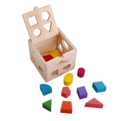 73JohnPol Multi-Holes Intellectual Cube Box Educational Toys For Children Colorful Shape Sorting Geometry Blocks Puzzle Toy,Wood Color: Juguetes y juegos