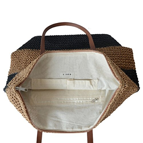 Woven for Beach Shoulder Totes Bag Striped Summer Black Women Straw Large Bag BqxfwnF