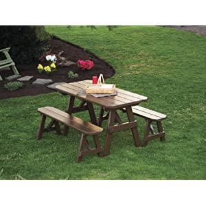Outdoor 6 Foot Pine Picnic Table with 2 Benches Detached - PAINTED- Amish Made USA -Coffee