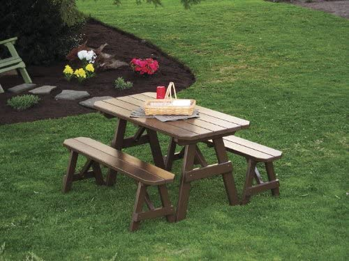 Outdoor 4 Foot Traditional Pine Picnic Table ONLY – Stained- Amish Made USA -Redwood