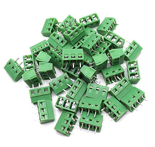 Yootop 40 Pcs 3P 5mm/0.2'' Pitch PCB Mount Screw Terminal Block Connector 300V 10A
