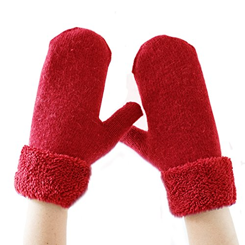 Editha Women Lovely Faux Rabbit Fur Gloves Winter Thick Warm Gloves Skiing Gloves Ice-skating Gloves Cycling Gloves Mittens Red (Ice Skating Mittens)