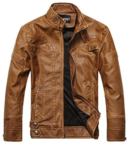 chouyatou Men's Vintage Stand Collar Pu Leather Jacket (XX-Large, DZQM769-Brown) ()