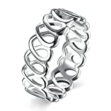 Epinki 925 Sterling Silver Women Ring Silver Hollow Heart Ring Engagement Band And Wedding Rings Size 6