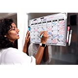 Magnetic Dry Erase Calendar Board for Fridge (17 X 11, White) With Markers and Erasers
