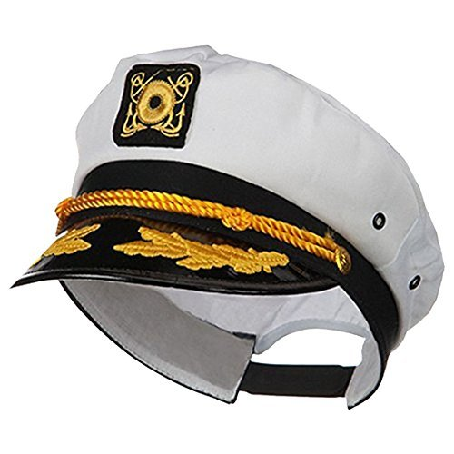 - Jacobson Hat Company Adult Ship Navy Officer Yacht Sea Skipper Captain Hat Cap Costume Accessory, White, One Size
