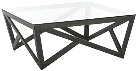 Safavieh FOX4242A Home Collection Ralston Mid Century Glass Top Grey Coffee  Table