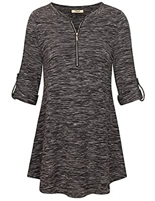 Timeson Women's Notch V Neck Roll-Up Sleeve Casual Shirt Zip Up Loose Tunic Blouse