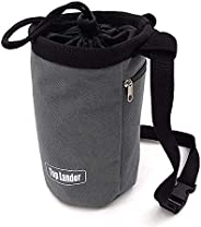 Gray Chalk Bag for Rock Climbing Bouldering Weightlifting Powerlifting Gym Workout with Zippered Pocket, Adjus
