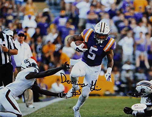 - Derrius Guice Autographed LSU 8x10 Avoiding Tackle Photo - JSA W Auth Black