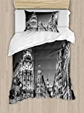Ambesonne Black and White Decorations Duvet Cover Set Twin Size, Madrid City Night Spain Main Street Ancient Architecture, Decorative 2 Piece Bedding Set with 1 Pillow Sham, Grey