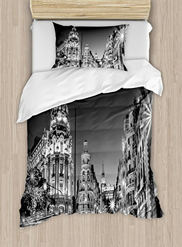 Ambesonne Black and White Decorations Duvet Cover Set Twin Size, Madrid City Night Spain Main Street Ancient Architecture, Decorative 2 Piece Bedding Set with 1 Pillow Sham, Grey by Ambesonne