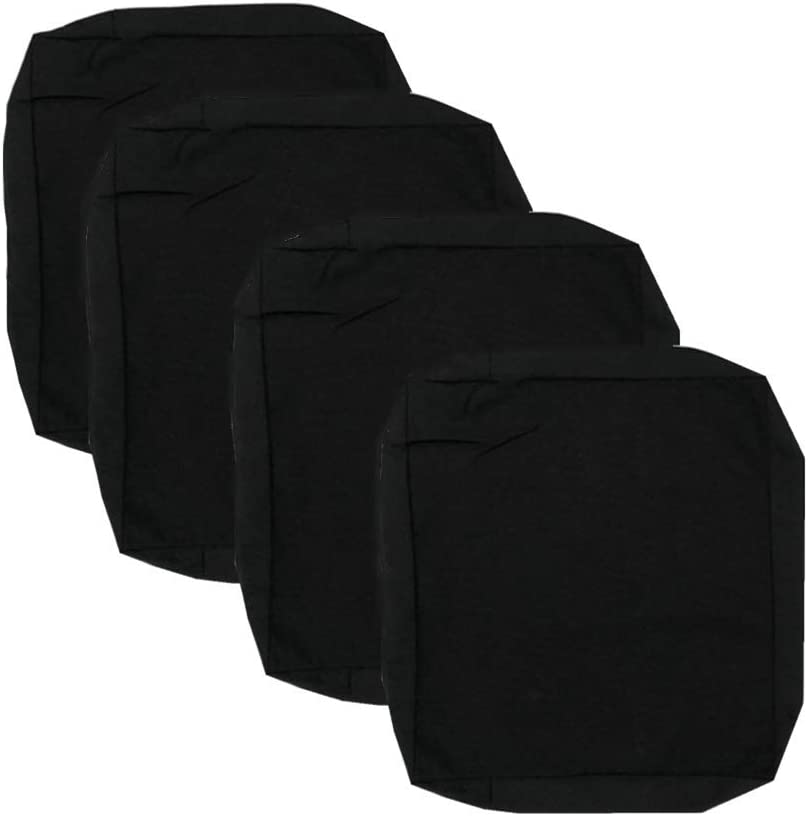 Patio Chair Cushion Cover 22X20X4'' Outdoor Indoor Seat Cushion Cover Waterproof 600D Oxford Fabric Heavy Duty Washable Chair Seat Replacement Cover for Outdoor Furniture Cushions (Black, 4Pcs)