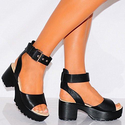 Scarpe Tacchi Alti Di Piattaforme Bianco Nero Sandali Con Il Cinturino Alla Caviglia Bracciale Cinturino 3-8 UK7/EURO40/AUS8/USA9