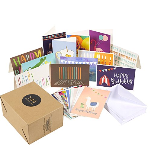 Gift Set Birthday Happy (144 Pack Assorted Greeting Happy Birthday Cards - Bulk Box Variety Set Includes 36 Unique Designs and White Envelopes, 4 x 6 Inches Folded)