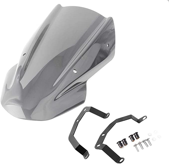 TOOGOO Motorcycle Double Line Windscreen Windshield Screen Bracket for Kawasaki Z650 Z-650 2017 2018 2019 Smoke