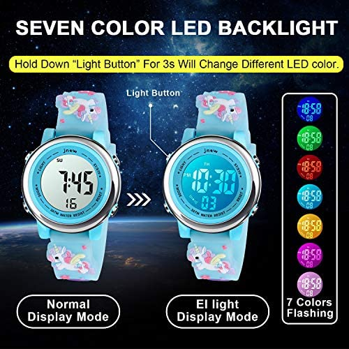 Kids Watch three-D Cartoon Toddler Wrist Digital Watch Waterproof 7 Color Lights with Alarm Stopwatch for 3-10 Year Boys Girls Little Child