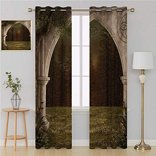 Gothic Gromit Curtains Room Divider Curtain Screen Partitions,Old Retro Arch in The Garden Renaissance Meadow Forest Dark Scary Design Image Kids Room Decor 84 by 96 Inch Green Beige