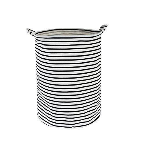 Efivs Arts Fabric Foldable Household Storage bin Jumbo Round Laundry Basket Hamper Closet Storage (Black Strip)