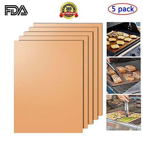 Non-stick BBQ Grill Mats,Set of 5 -Barbecue Utensil for Gas - Charcoal - Electric Grill Durable,Heat Resistant
