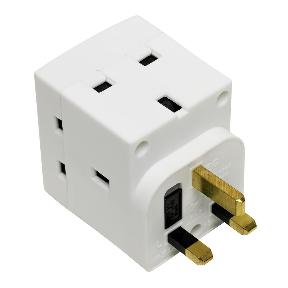 Dencon 13A 3Way Multiplug 3 Way UK Adapter 230 Volt Fused 13a Complies Bs1363/3