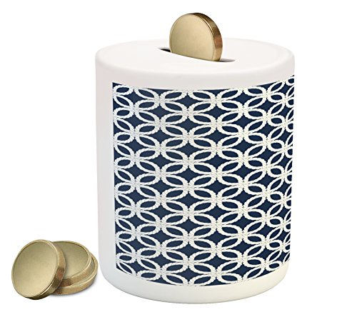 Navy Piggy Bank by Ambesonne, Woven Marine Life Inspired Ropes in Square Shapes Geoemtric Grid Art Print, Printed Ceramic Coin Bank Money Box for Cash Saving, Navy Blue and White