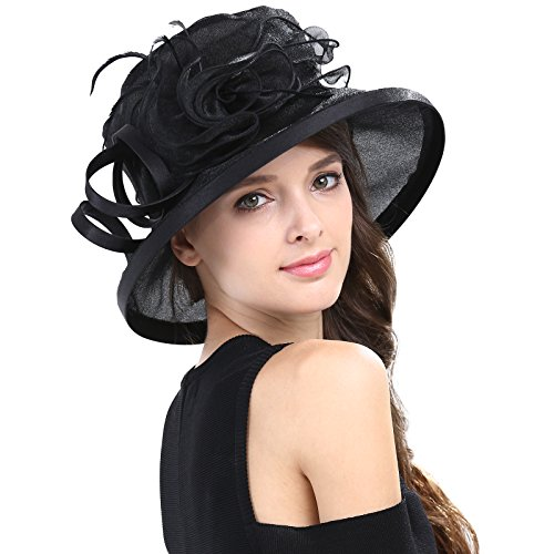 Janey&Rubbins Women's Kentucky Derby Racing Horse Organza Hat Church Wedding Dress Party Occasion Cap (Black)