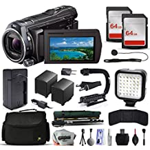 Sony HDR-PJ810 Full HD Handycam Camcorder Video Camera + 128GB Memory + Charger with Car/Euro Adapter + Action Stabilizer + LED Night Light + Large Case + Monopod + Dust Cleaning Kit + More