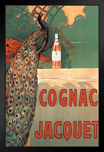 Camille Bouchet Cognac Jacquet Peacock Vintage French Brandy Beverage Advertisement Framed Poster 14x20 inch