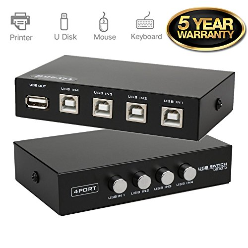 Updated Metal Case 4 Ports USB 2.0 Manual Share Sharing Switch Switcher Adapter Box Hub Allow 4 Computers Share 1 USB Device Like Printer, Scanner, Camera, ()