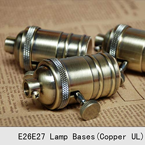 Lamp Base - Vintage Lamp Bases E27 Edison Copper Bronzed Retro Screw Bulb Socket Knob Switch Pendant Light Lamp Holders 2PCS by Kamas (Image #4)
