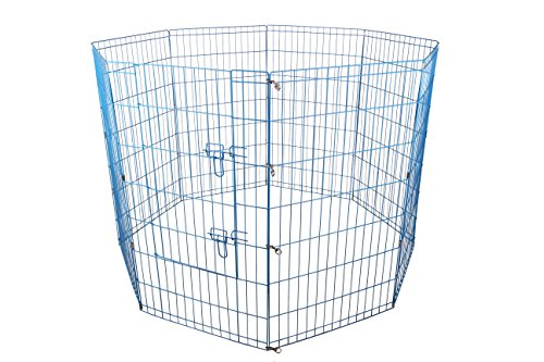 48-Blue Tall Dog Playpen Crate Fence Pet Kennel Play Pen Exercise Cage -8 Panel (Exercise Pen Pet Kennel Cage)