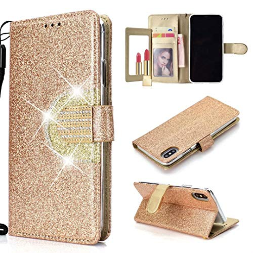 """Ranyi iPhone XR Case, Luxury Glitter Bling Leather Flip Wallet [5 Card Slots] [Rhinestones Button] [Kickstand Featuer] Magnetic Flip Folio Wallet Case for Apple 6.1"""" iPhone XR (2018), Gold"""