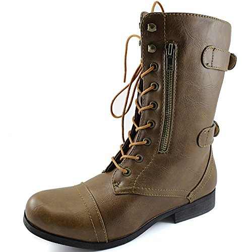 Dailyshoes Womens Military Combat Bootie Lace Up Ankle Zipper Back Strap Boots Camel Boots, Tan Laces