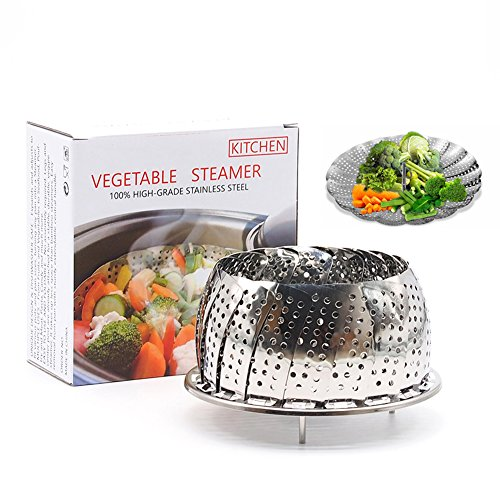 Akesky Vegetable Steamer Basket 5.5-9″, Healthy Premium Stainless Steel Seafood Fruit Food Steamer for Instant Pot Pressure Cooker Review