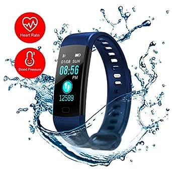 Blue Fitness Tracker Blood Presure Pedometer Calorie Counter Smart Wristband Watch