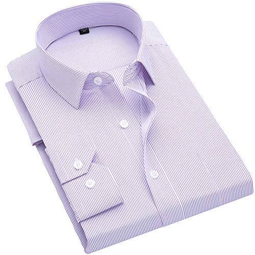 (DOKKIA Men's Casual Long Sleeve Vertical Striped Slim Fit Dress Shirts (Purple White, Medium))