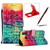 Strap Leather Case for LG Stylo 5,Wallet Flip Case for LG Stylo 5,Herzzer Stylish Elegant 3D Sunrise Scenery Pattern Magnetic Stand PU Leather Case with Soft TPU