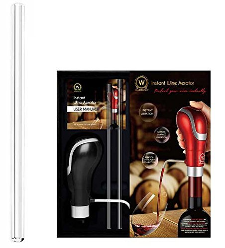 WAERATOR Instant 1-Button Electric Aeration and Decanter Wine Pourers, Red