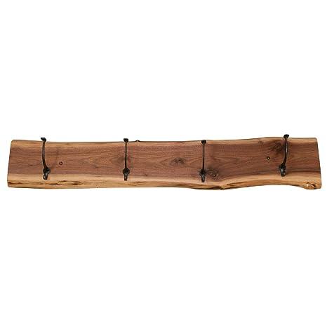 Amazon.com: Live Edge Coat Rack, 4 ganchos, madera de nogal ...
