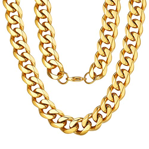 18K Yellow Gold Filled Fashion Miami Link Chain 12mm 18inch Huge Necklace Golden 18k Yellow Gold Necklace