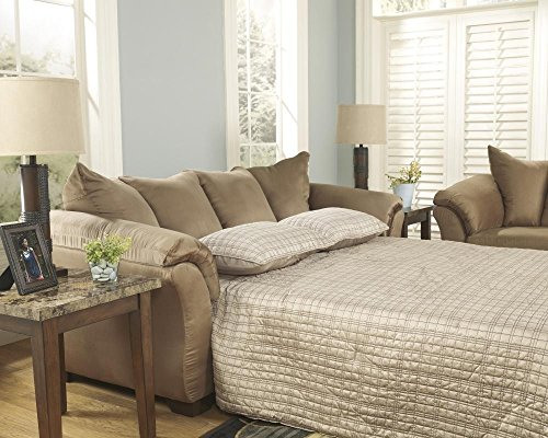 Ashley Furniture Signature Design - Darcy Sleeper Sofa - Full Size - Ultra Soft Upholstery - Contemporary - Mocha (Sleeper Sofa Mission)