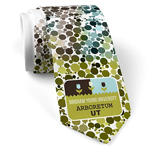 Neck Tie with US Gardens Brigham Young University Arboretum - UT White with Color Print