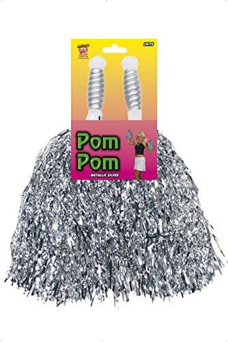 Uk Costumes Cheerleading (Smiffy's Pom Poms Metallic Pair -)