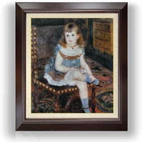 ルノワール すわるジョルジェット・シャルパンティエ嬢 F10 油絵直筆仕上げ| 絵画 10号 複製画 ブラウン額縁 675×601mm