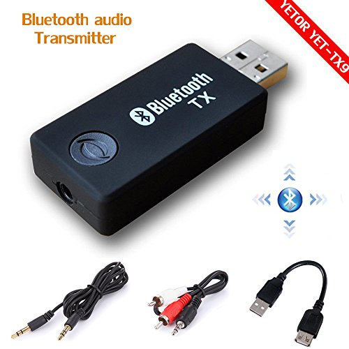 Bluetooth transmitter,YETOR 3.5mm Portable Stereo Audio Wireless Bluetooth Transmitter for TV,bluetooth for pc iPod, MP3/MP4,2 Devices Pair Simultaneously (BLACK)
