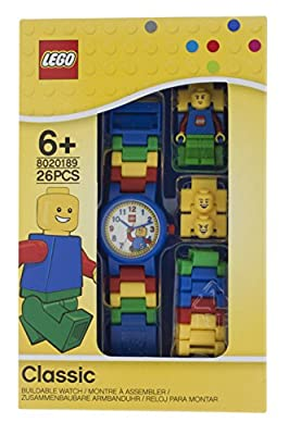 LEGO Classic 8020189 Kids Minifigure Link Buildable Watch | black/yellow | plastic | 25mm case diameter| analog quartz | boy girl | official from LEGO